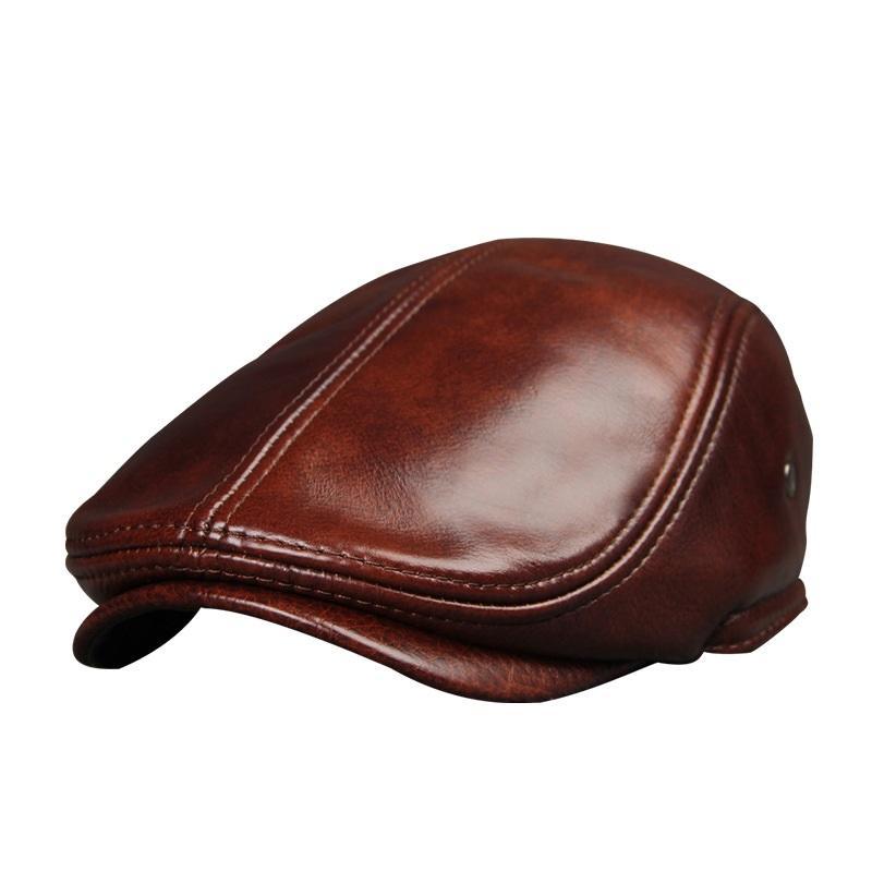 Compre Sombrero De Cuero Genuino Masculino Sombreros De Cuero De Piel De  Vaca De Adulto Gorro De Protección Para Los Oídos De Los Hombres Gorra De  Visera De ... 65f5e2f27cb
