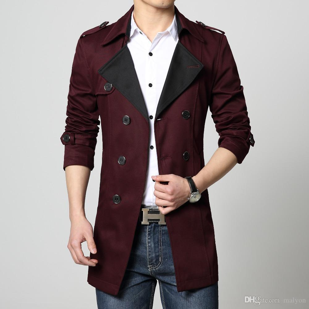 c55cec508761 2019 Wholesale Mens Trench Coat Cotton Overcoat New 2017 Red Khaki Blue  Black Big Size 6XL Plus 4x 5xl Hot Sale Fashion Slim Fit Male Outwear From  Malyon