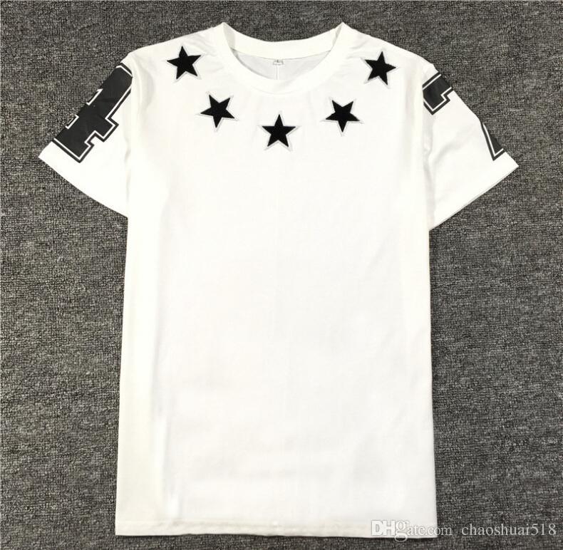2018 Sommer Modemarke die Sterne 74 Zahlen Beflockung Stickerei Herrenbekleidung Kurzarm T-Shirt