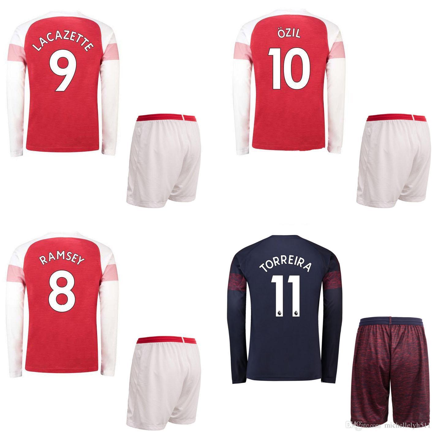 2d3997b34f4 18 19 ARS Henry Soccer Jersey Shorts OZIL AUBAMEYANG RAMSEY ...