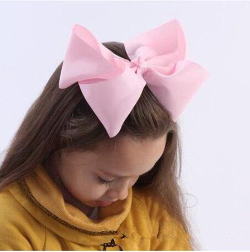 8 pulgadas Bowknot Hairbands Arcos del pelo sólido Kid Girls Headwear Baby Girls Accesorios para el cabello con pinzas de cocodrilo 50 Unids / lote