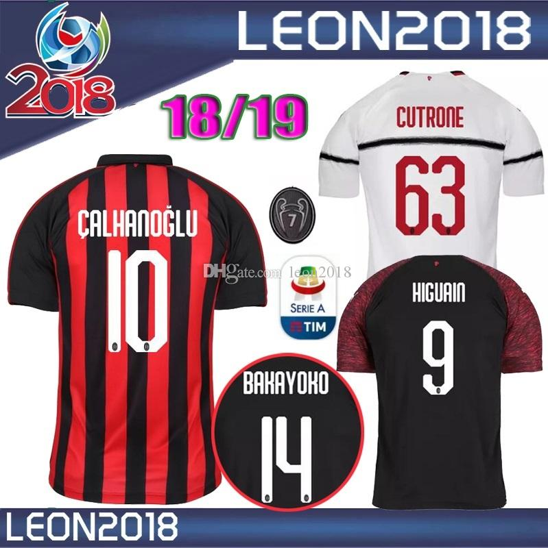 TALLA S XXL 2018 2019 Milan Jersey 18 19 ANDRE SILVA CALHANOGLU SUSO Inicio  Fútbol Jerseys HIGUAIN Camiseta De Fútbol Por Leon2018 050745a5c163c