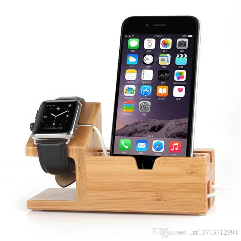 Bambus Holz Desktop Stand für iPad Mini Tablet Halterung Docking Holder  Ladegerät für iPhone Ladestation für Apple Watch
