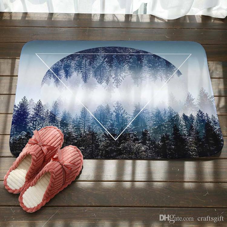 Alphabet Forest Triangle Pattern Bath Mat Kitchen Bathroom Floor Door Mat Super Absorbent Non-slip Rugs Soft Flannel Bath Mats