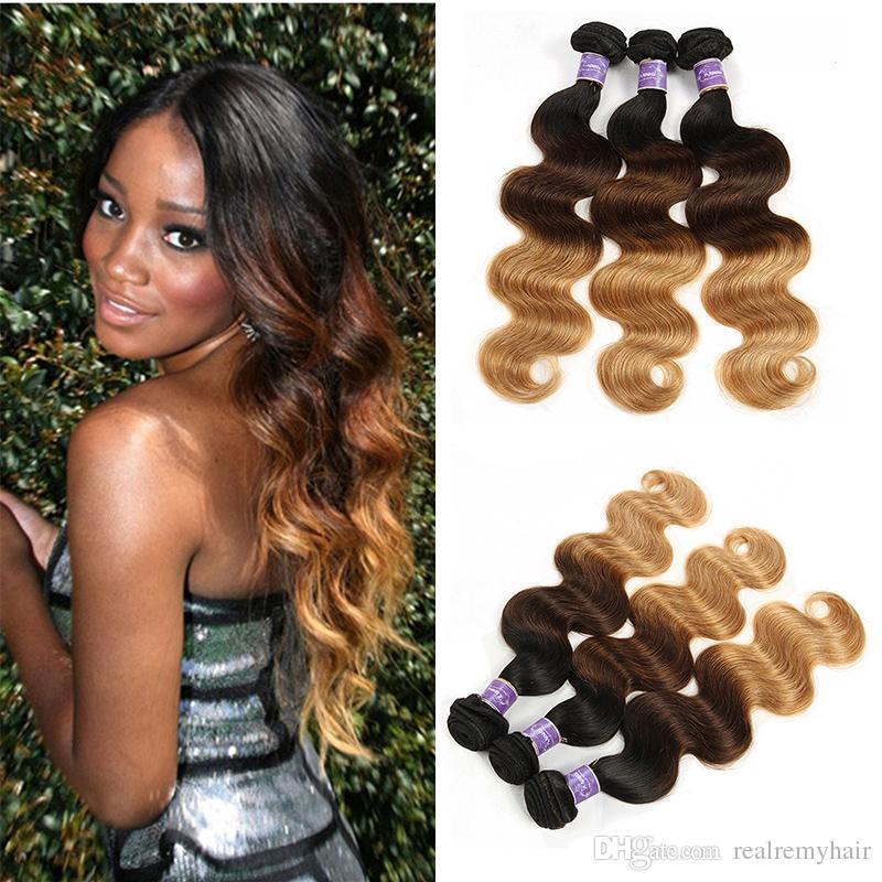 Colored Brazilian Hair 3 Bundles Body Wave 1b427 Blonde Ombre