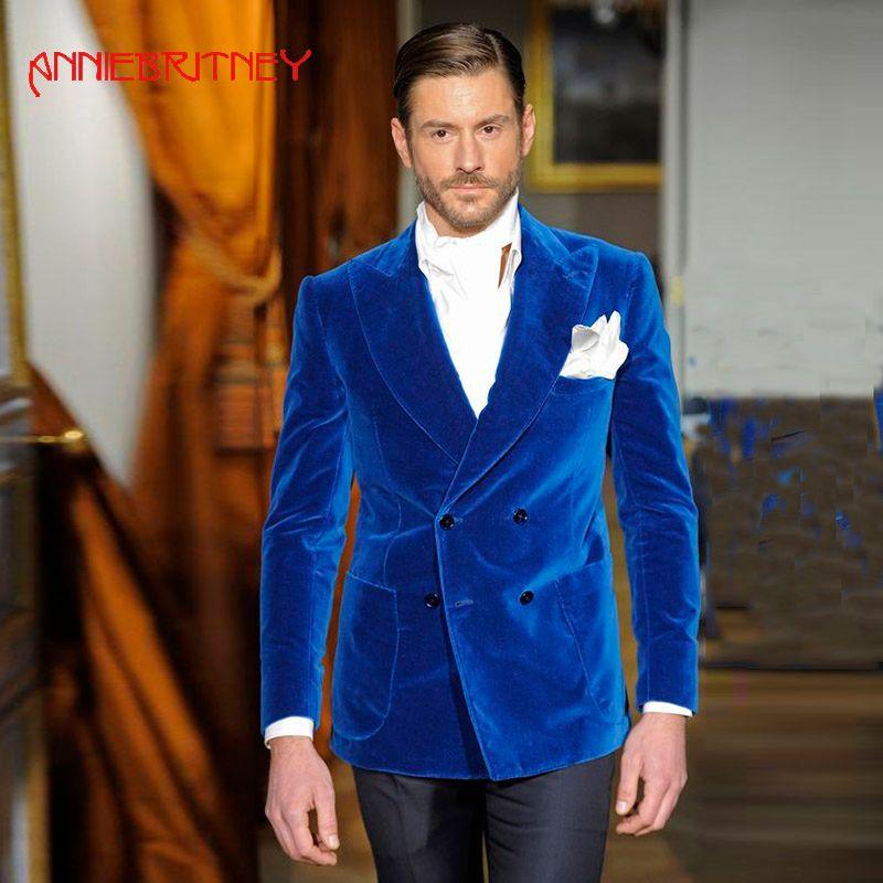 Acquista Royal Blue Velvet Uomo Abiti Da Sposa Doppio Petto Giacca Blazer  Maschile Smoking Dello Sposo Vintage Uomo Abiti 2 Pezzi A  207.62 Dal  Junqingy ... 7164647cf86