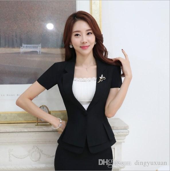 4f7314c7b Uniforme de oficina Diseño para mujer Verano Trajes de manga corta Blazer  con falda Negro Gris Mujeres Slim Fit Falda Traje Traje de trabajo femenino
