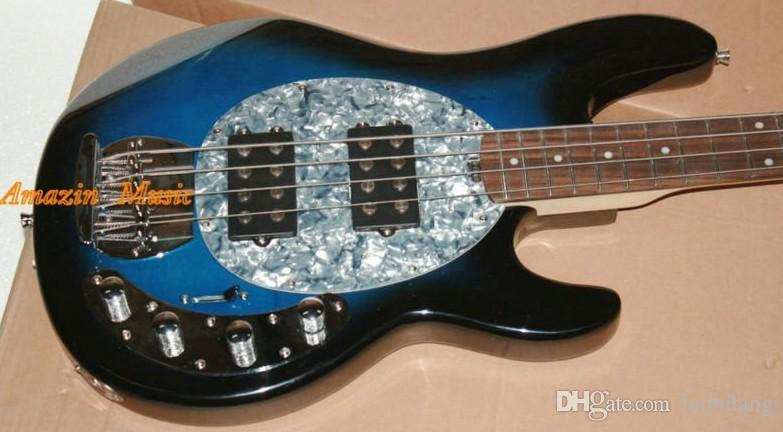 Music Man Sabre 4 Strings Bass Erime Ball StingRay Electric Guitar Blue Maple Neck 9V Battery Active Pickups White Mother of Pearl Pickguard