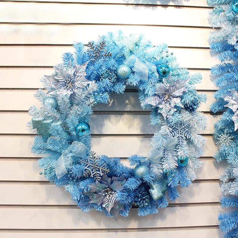 blue christmas wreath garland ribbons rattan birthday new year festival party christmas decoration home color bar r095 christmas flower ornaments christmas - Blue Christmas Theme Decorations