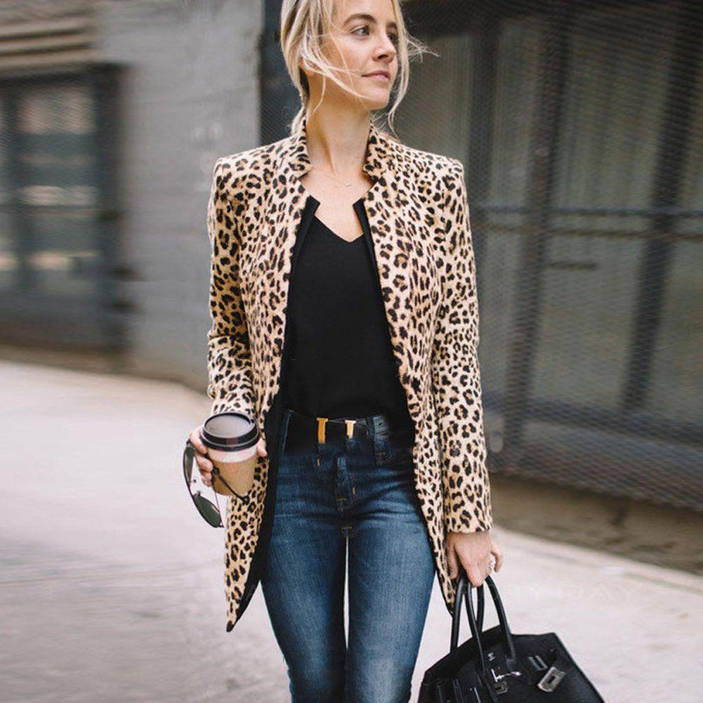 Fashion Women Lady Fashion Long Vest Cool Outerwear Long Sleeve Coat Suit  Leopard Plus Size Tops Vests   Waistcoats Cheap Vests   Waistcoats Fashion  Women ... fa6b0b38b128