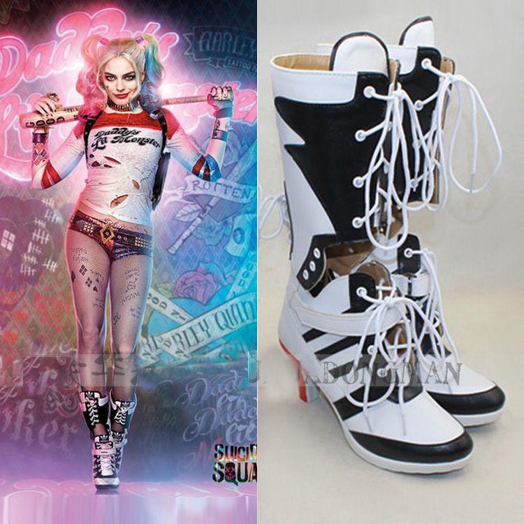 Personnalisé Suicide Squad Harley Quinn Cosplay Chaussures En Gros Adulte Femme Cosplay Costume Bottes Taille 35 57 Livraison Gratuite