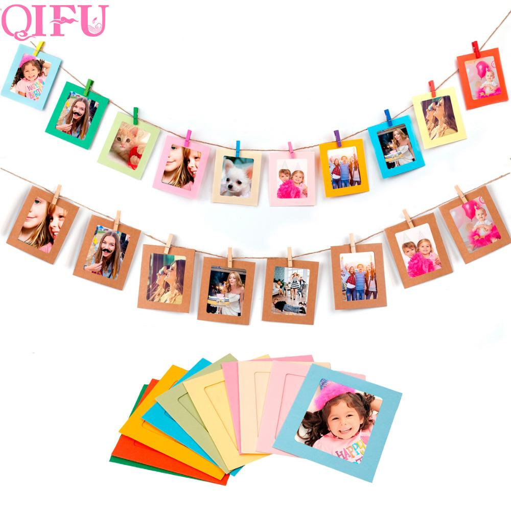 QIFU DIY Vintage Paper Photo Frame Wall Rope Clip Picture Album ...