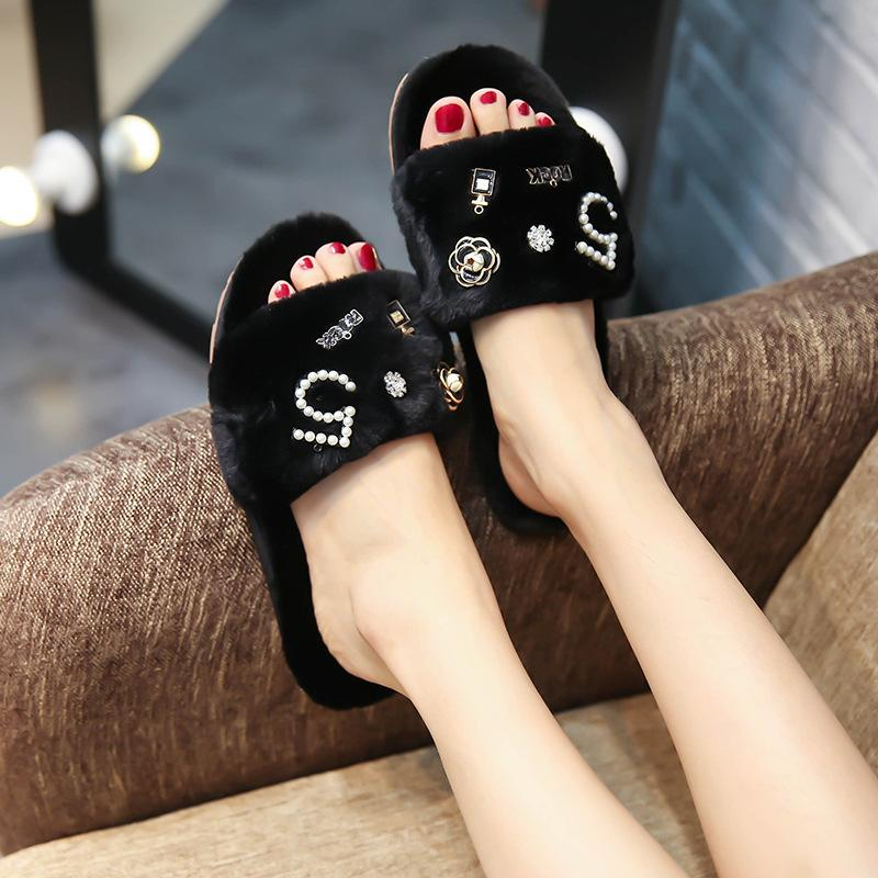 Winter Women Home Slippers with Faux Fur Fashion Warm Shoes Woman Slip on Flats Female Slides Black Pink Plus Size 42