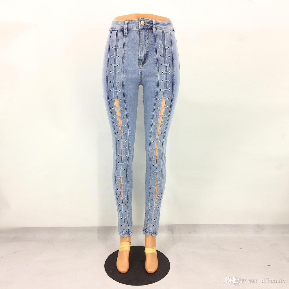 도매 - 여성 라이트 블루 높은 허리 바지 청바지 스키니 바지 붕대 청바지 패션 의류 봄 여름 연필 청바지