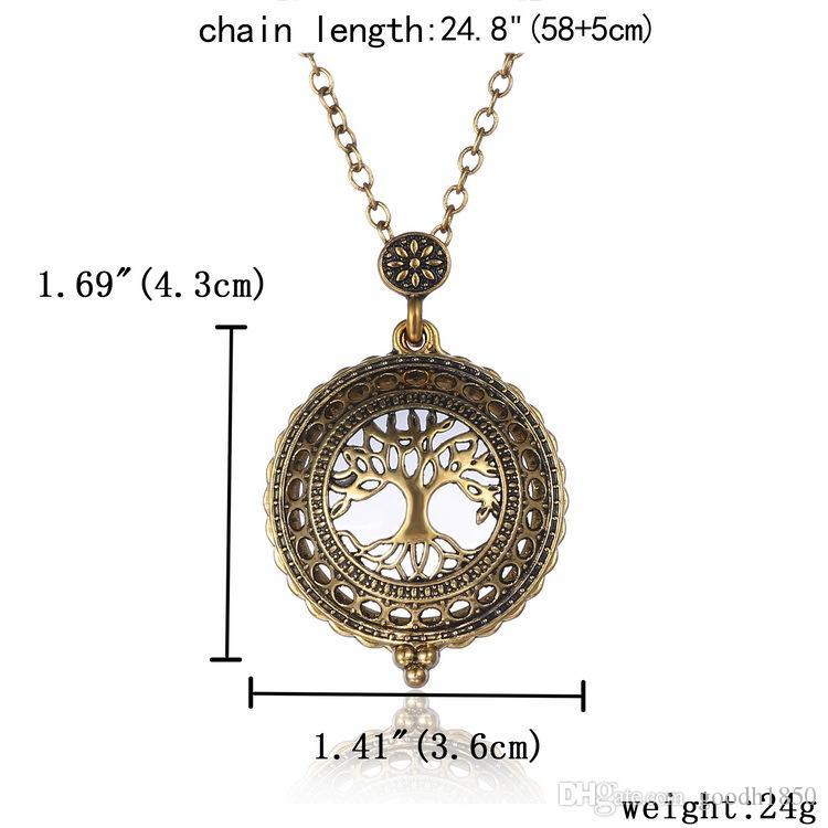 2018 fashion 5 time Vintage Magnifying Glass Pendant Necklace World Map Three Elephant Watch time collar collier