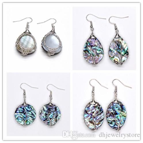 Wholesale 10 Pairs Silver Plated Wire Wrapped Natural Abalone Shell Drop Earrings For Women Anniversary Gift Jewelry