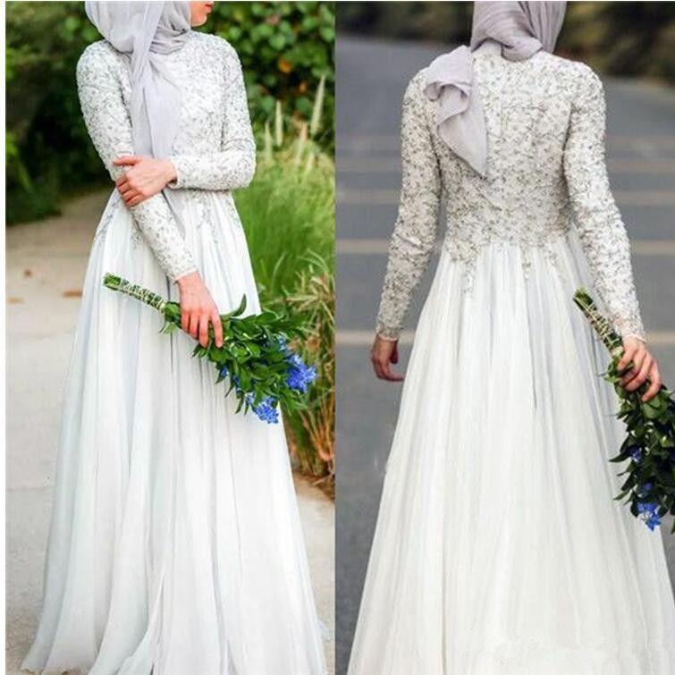 Vestido de noche musulmán Manga larga Cuello alto Con cuentas de plata Apliques Chiffon Piso Longitud Vestidos de fiesta Tamaño personalizado