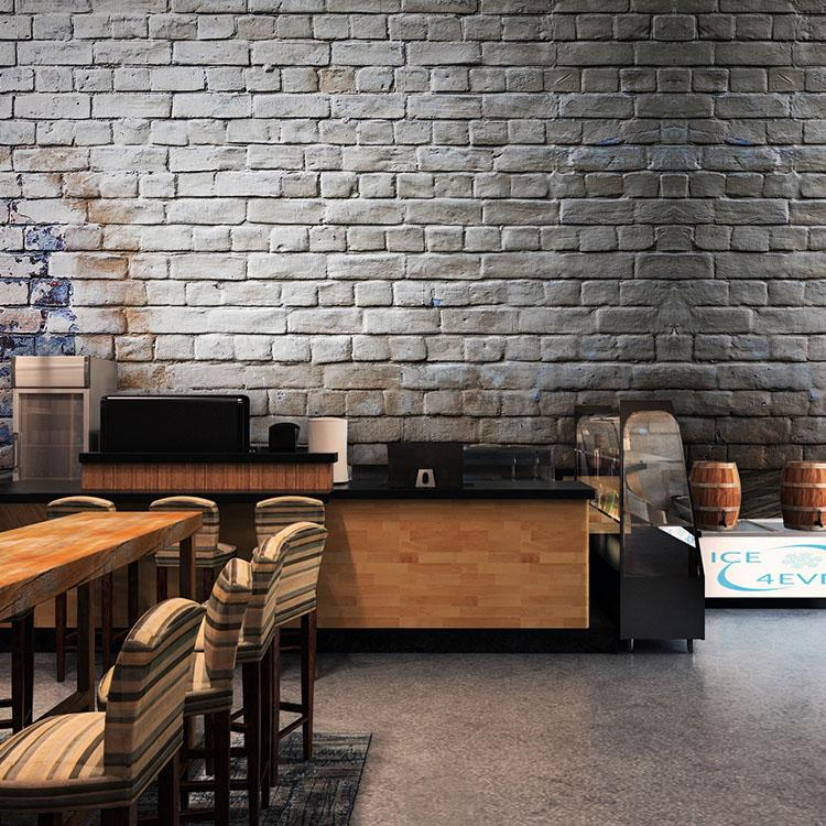 Großhandel Benutzerdefinierte Größe Foto 3D Retro Grau Ziegel Wand ...