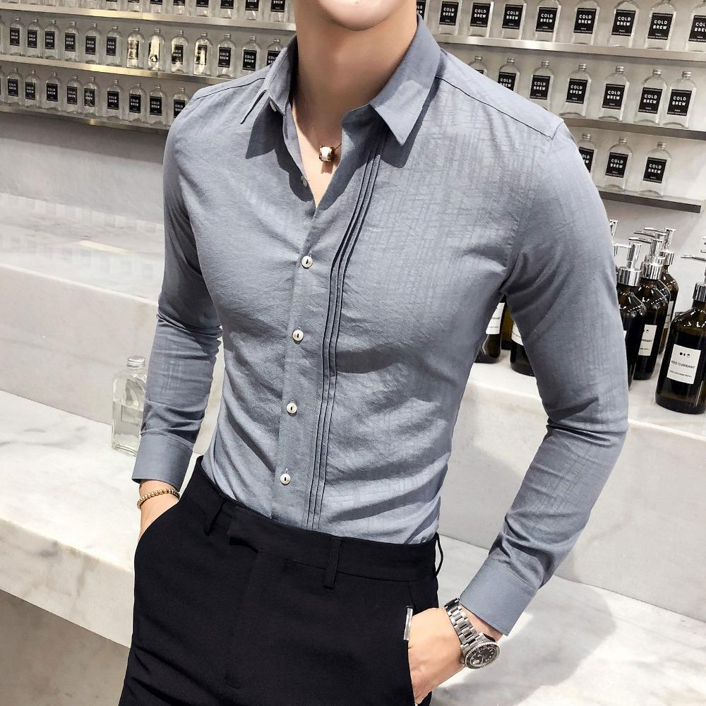 2019 High Quality Men Shirt Brand New Slim Fit Casual Solid Dress