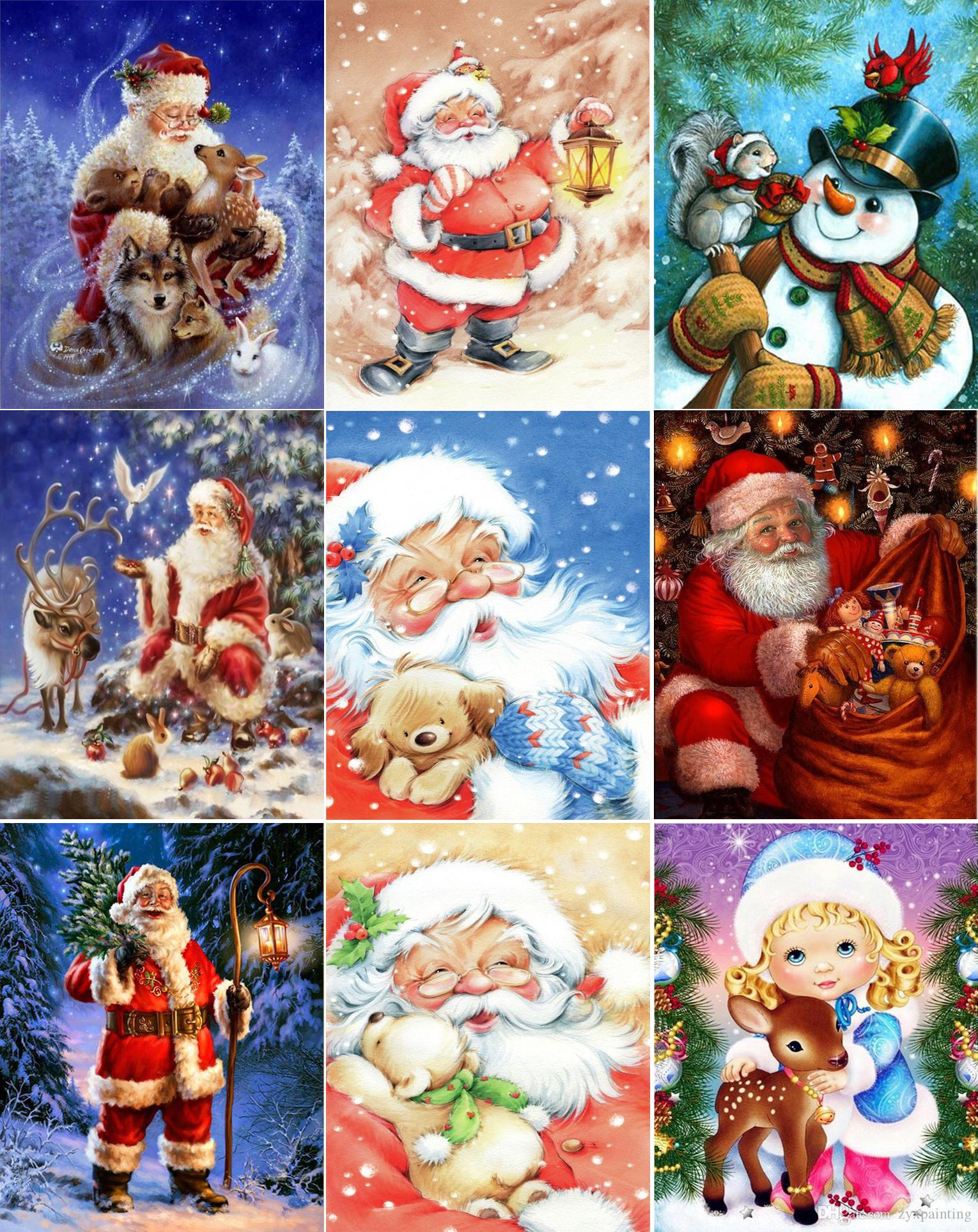 2019 Diy Diamond Painting Cross Stitch Kit Rhinestone Mosaic Home  Decoration Santa Claus Christmas Gift Painting Full Round Diamond  Embroidery 05 From ... 75d670eea