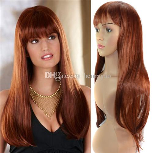 Cheap Long Straight Synthetic Honey Brown Hair Wigs Full Side Bang Wig for Women Heat Resistant Wig