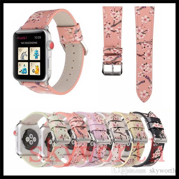 Compre Para Apple Watch 4 3 2 1 Bandas Pulseira De Couro Genuíno Real Flor  Tiras Banda 40mm 44mm 38 42mm Pulseiras Adaptador Tamanho Mix De Skyworth d2b1a6add2f21