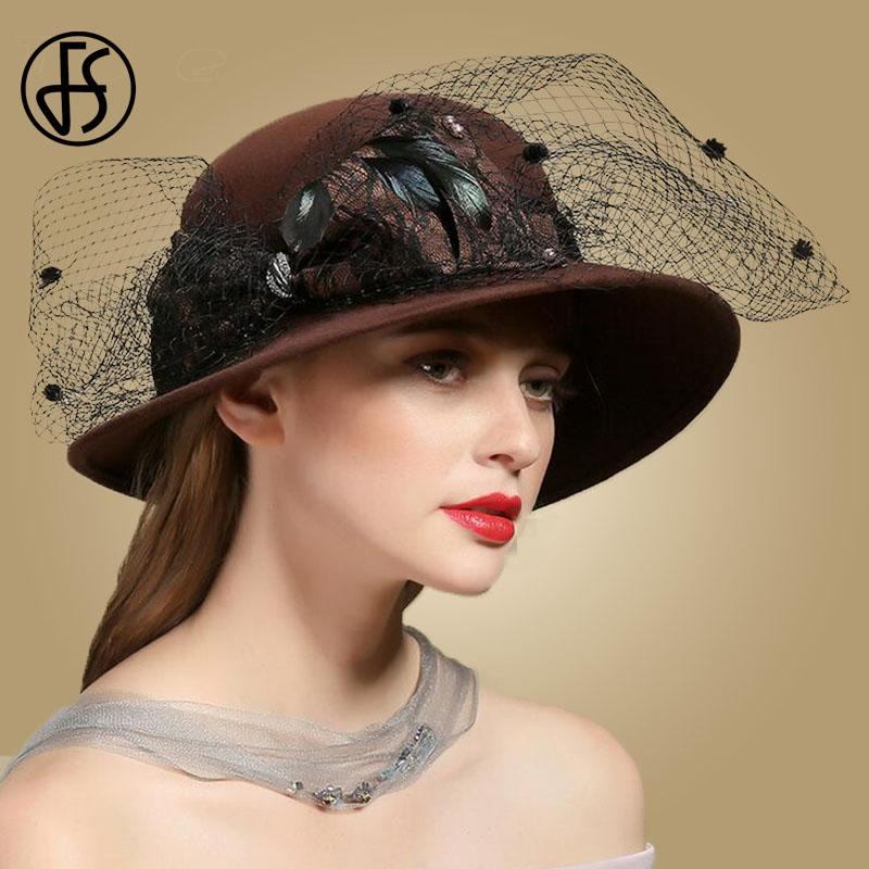 efeee6373 FS Vintage Brown Wine Red Wool Felt Cloche Hat With Bow and Veil Large Wide  Brim Bowler Winter Fedoras Ladies Hats Round Cap