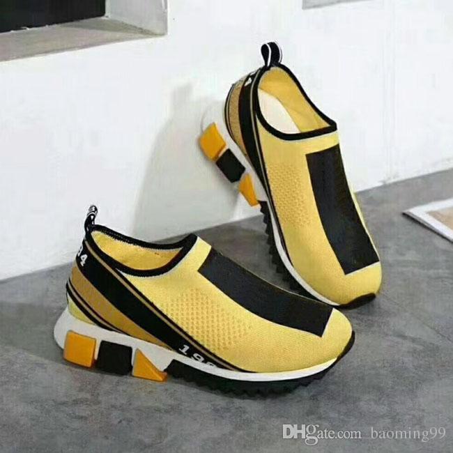 2018 venda quente mais novo designer das sapatilhas dos homens das mulheres meias sapatos casuais amarelo mulheres sapatos homens azuis meia sapatos 35-46 com caixa