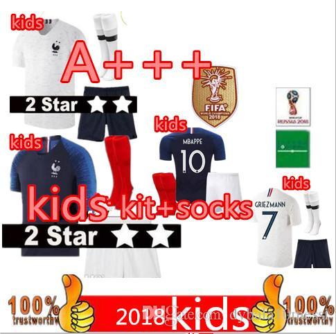 a266f9dfe New 2 Stars Kids Jerseys +shorts And Socks GRIEZMANN MBAPPE POGBA Soccer  Jerseys 2018 Fr World Cup Child Shirts MARTIAL KANTE Jerseys Footb Pogba  Soccer ...
