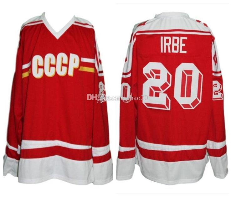 827f052f350 2019 #20 Arturs Irbe Cccp Team Russia Retro Classic Ice Hockey Jersey Mens  Stitched Custom Any Number And Name Jerseys From Abao20, $40.6 | DHgate.Com