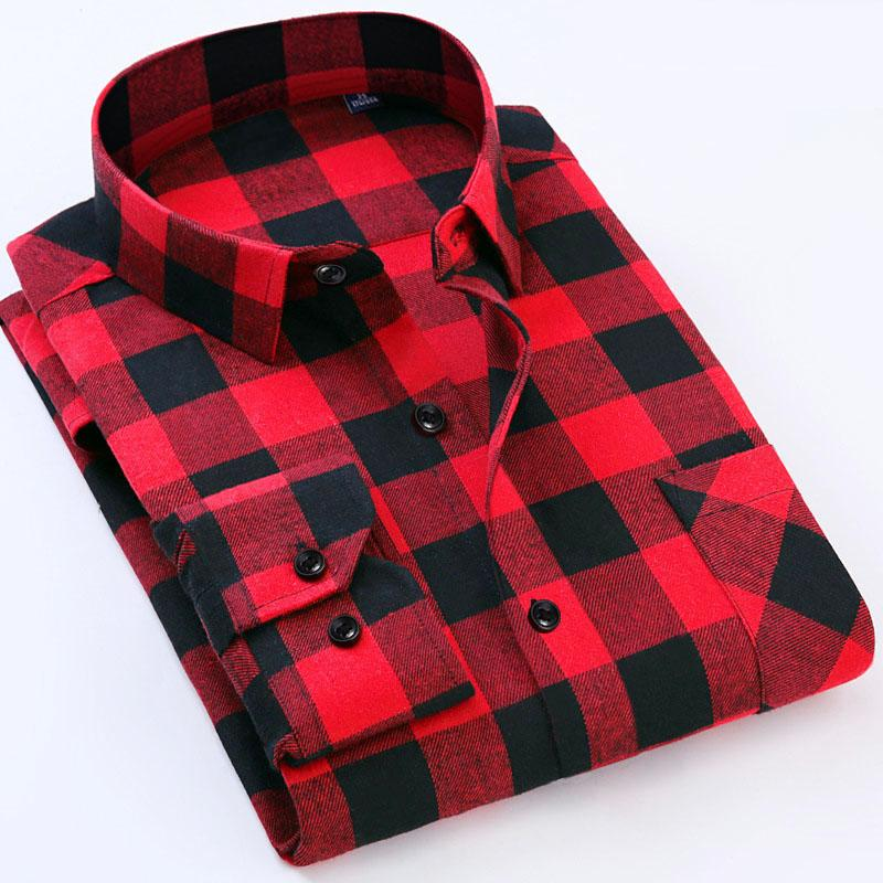 Plus Size 6xl Men S Flannel Plaid Shirts Dress Male Casual Warm Soft  Comfort Long Sleeve Shirt Clothes Camisa Masculina