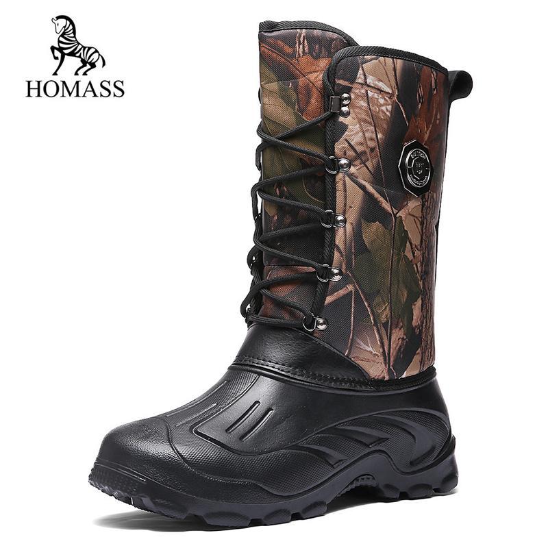 572037dc Compre HOMASS Botas De Lluvia Impermeables Para Hombres 2018 Felpa Cálida  De Invierno Botas Para La Nieve A Media Pierna Hombres Zapatos De Trabajo  De ...