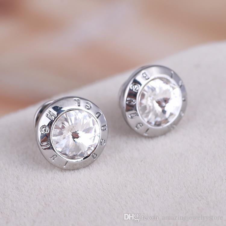 2018 Luxury quality Famous Brand brass material Stud with 1.2cm round dimond Fashion brand Earrings jewelery for women wedding gifts PS6658