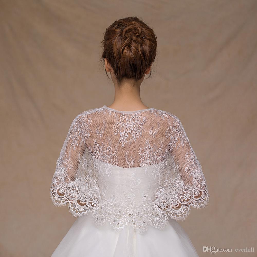 2018 Beaded Lace Up Bridal Cape For Wedding Dresses Women Summer/Spring Lace Bolero Sposa Short Shawls Cloak Shrug Jacket Wraps