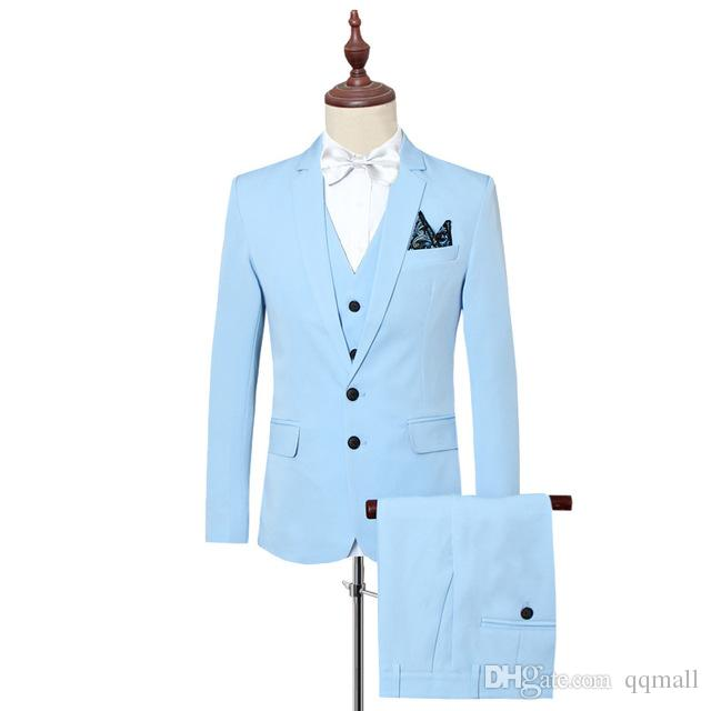2019 2018 Large Size 6XL Men S Solid Color Suit Jacket With Vest And Pants  Business Casual Men Dress Suits Slim Elegant From Qqmall fb5ae0aece1d