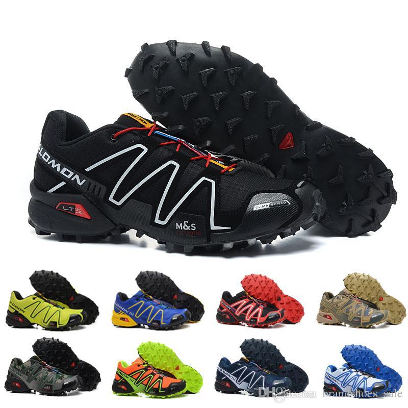 a9a04a2635 Compre NOVA Alta Qualidade Salomon Homens Sapatos Zapatos Hombre Velocidade  Cruz 3 CS III Esporte Sapatilhas Dos Homens Preto Azul Amarelo Speedcross  ...