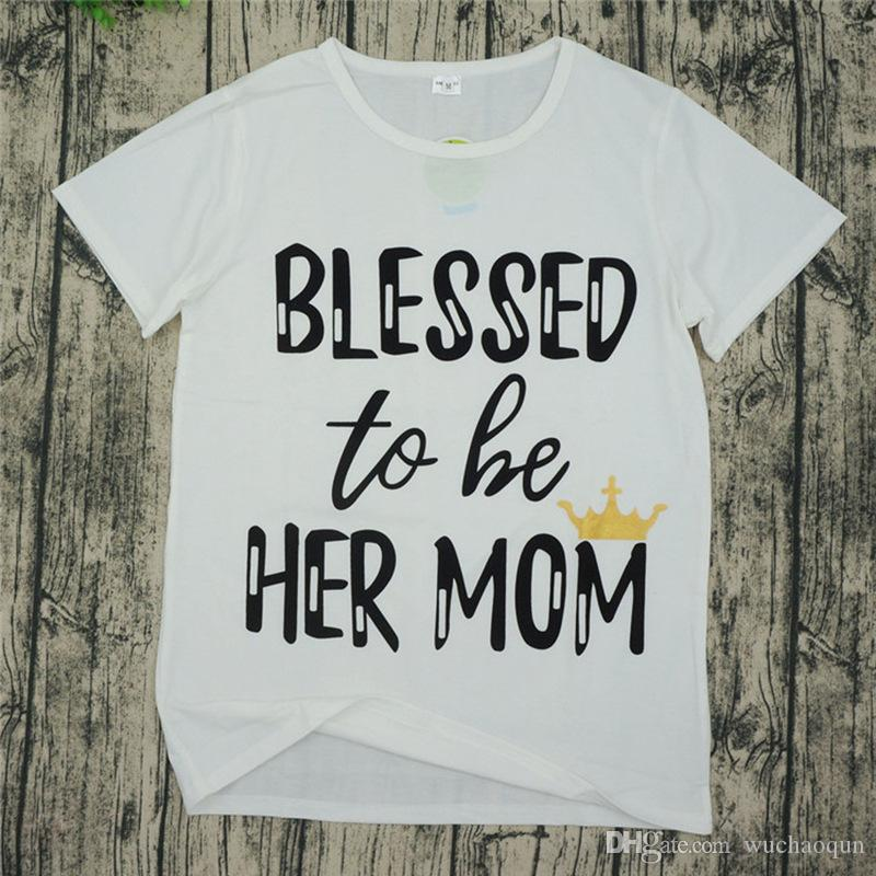 Family matching clothing Mother and daughter T-shirts letter print Tops 2018 new Mother's Day long sleeve Tees