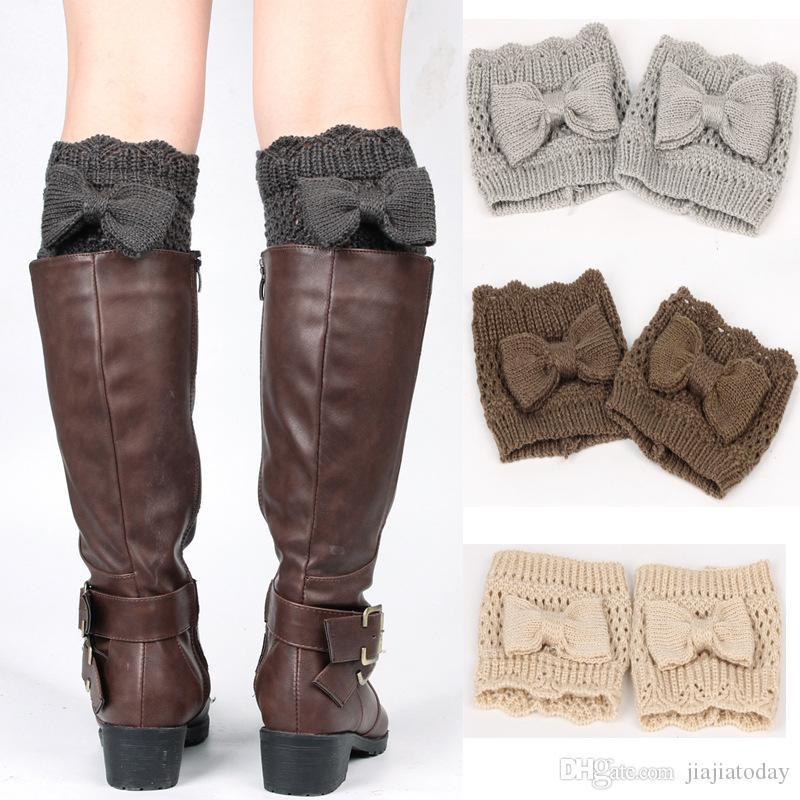 06b59462e9e Winter Bow Warm Women Knitted Boot Cuffs Socks Leg Warmer With Button  Crochet Knit Boot Socks Toppers Cuffs Christmas Sock Warmers Gifts Long Leg  Girdles ...