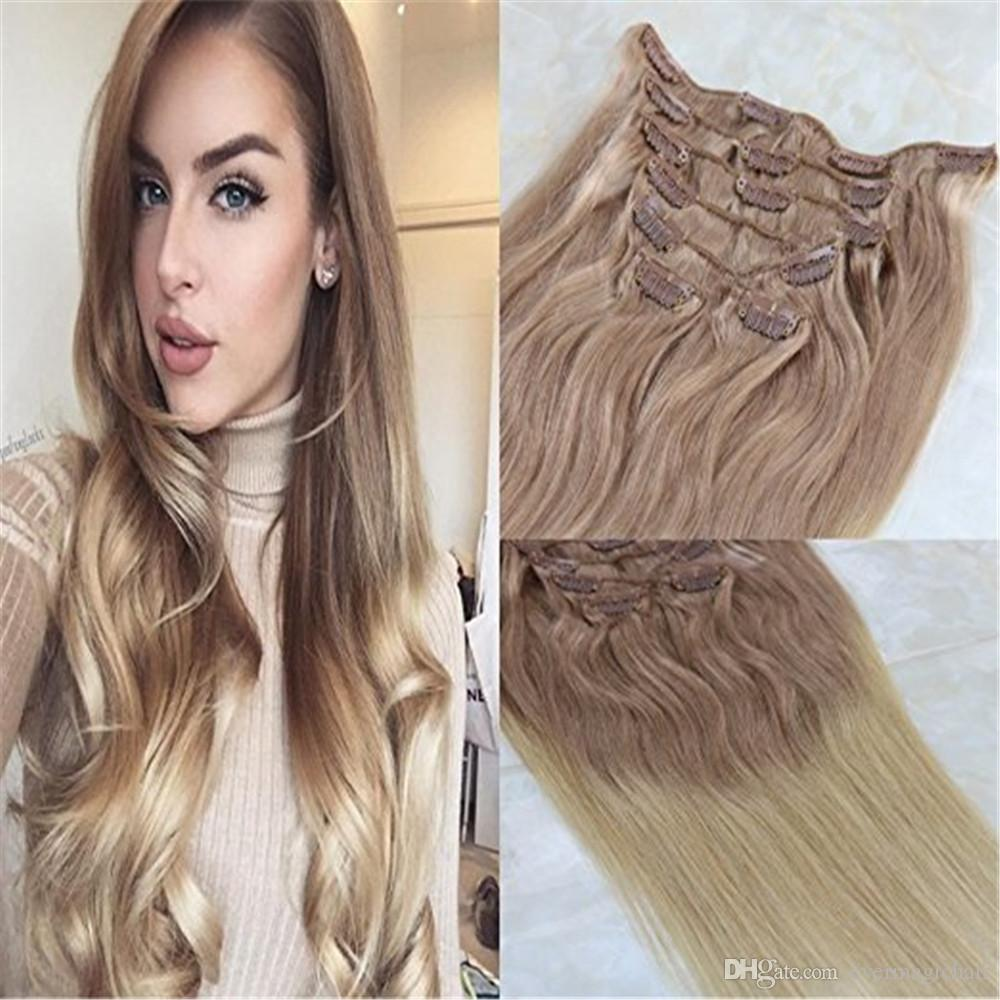 Remy Human Hair Clip In Weft Hair Extensions 18 Ash Blonde To 613