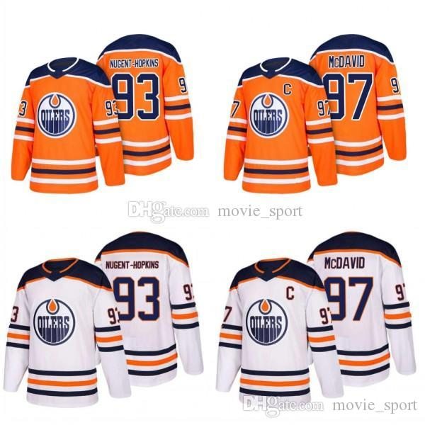 2018 Edmonton Oilers Jersey Men's #97 Connor McDavid 93 Ryan Nugent-Hopkins Hockey Jerseys 100% stitched Embroidery Cheap sale