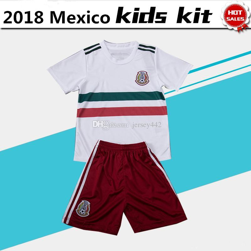 394cf9b980b 2018 World Cup Mexico Soccer Jersey Kids Kit Away Boy Football Shirt ...