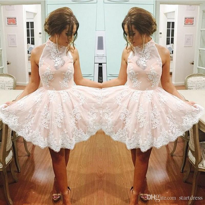 Discount Pink High Neck Applique Lace Prom Dress Sexy Open Back Short Homecoming Formal Party Dresses Cheap Real Picture Evening Gown 2018