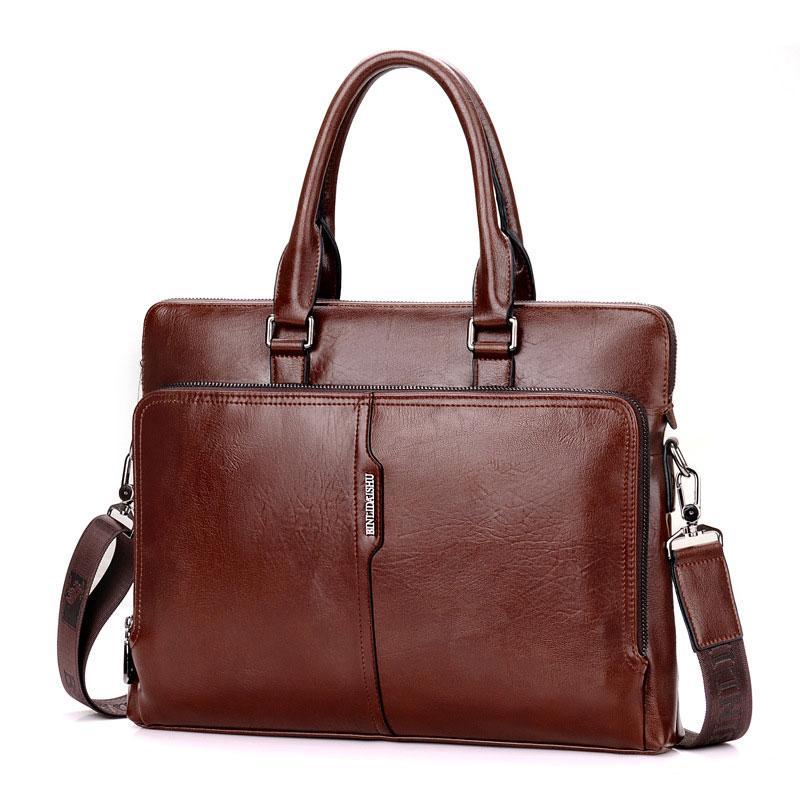 0e87f96fbb1c Men Business Leather Briefcase Shoulder Messenger Bag for 14