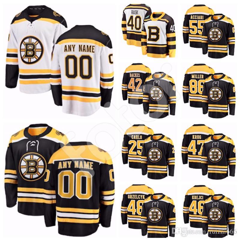 buy online a94fa cbdfa Custom Boston Bruins jersey Charlie McAvoy Zdeno Chara Kevan Miller Matt  Grzelcyk Sean Kuraly Acciari Anders Bjork Ryan Donato Brandon Carlo