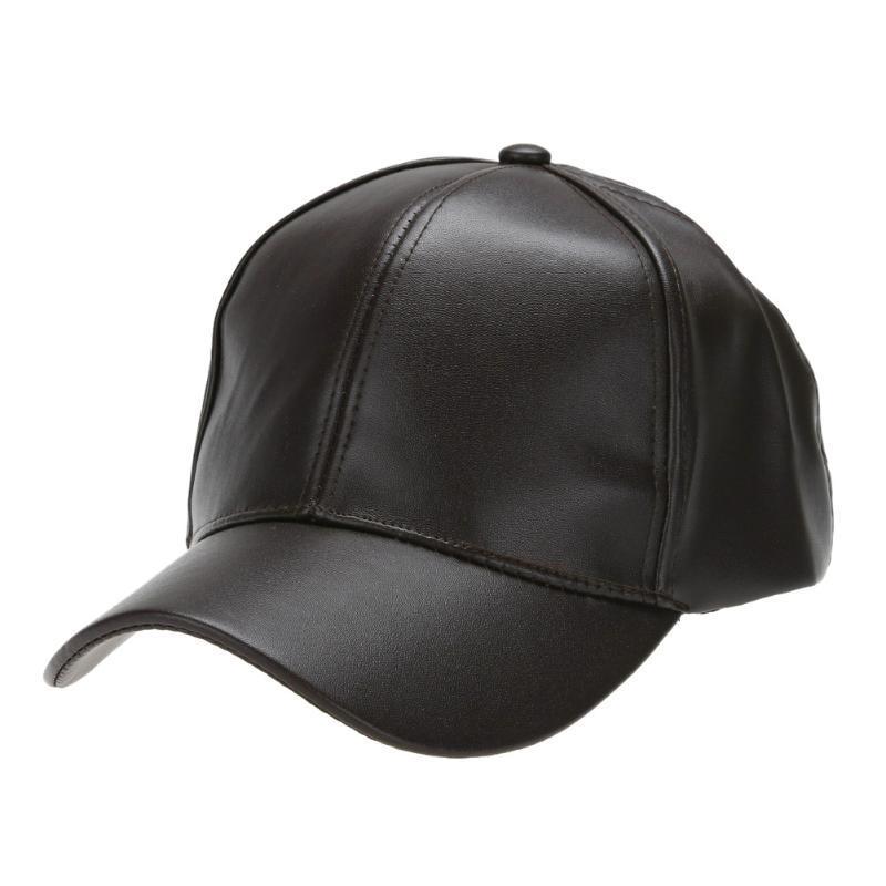 f7a8a0968e6 Unisex Leather Baseball Cap Snapback Outdoor Sport Adjustable Hat ...