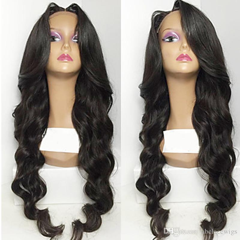 Middle Parting Black Body Wave Long Wavy Wigs with Baby Hair High Quality Heat Resistant Glueless Synthetic Lace Front Wigs for Black Women
