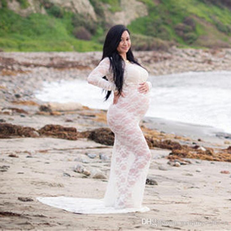 الدانتيل فساتين الأمومة التصوير الدعائم شفافة مساء اللباس الحوامل صورة التقطت ثوب الجوف خارج شاطئ فستان طويل