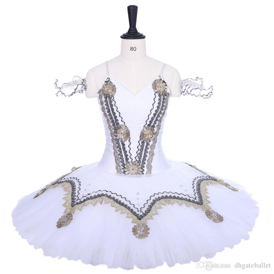 Adult White Swan Lake Professional Ballet Tutu White Pancake Tutu For Child Bailarina Stage Dress