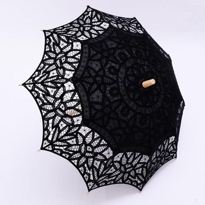 Black Lace Parasol Umbrella Gothic Fancy Hollow Vintage Victorian Wedding Parasols for Bride Bridesmaid Good Quality Custom Color