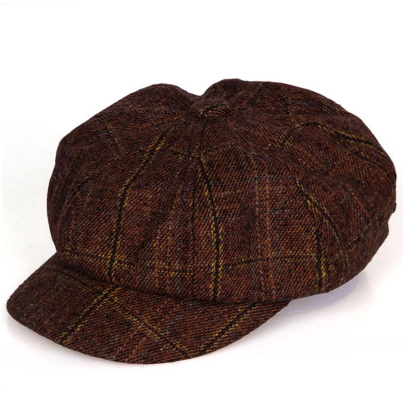 Vintage style men women s casual wear plaid eight panel newsboy cap driving  hat black dark green
